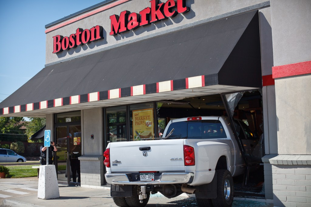 Truck ran through the Boston Market storefront