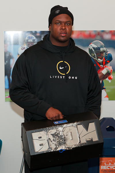 Clady Holding up his Boom Box